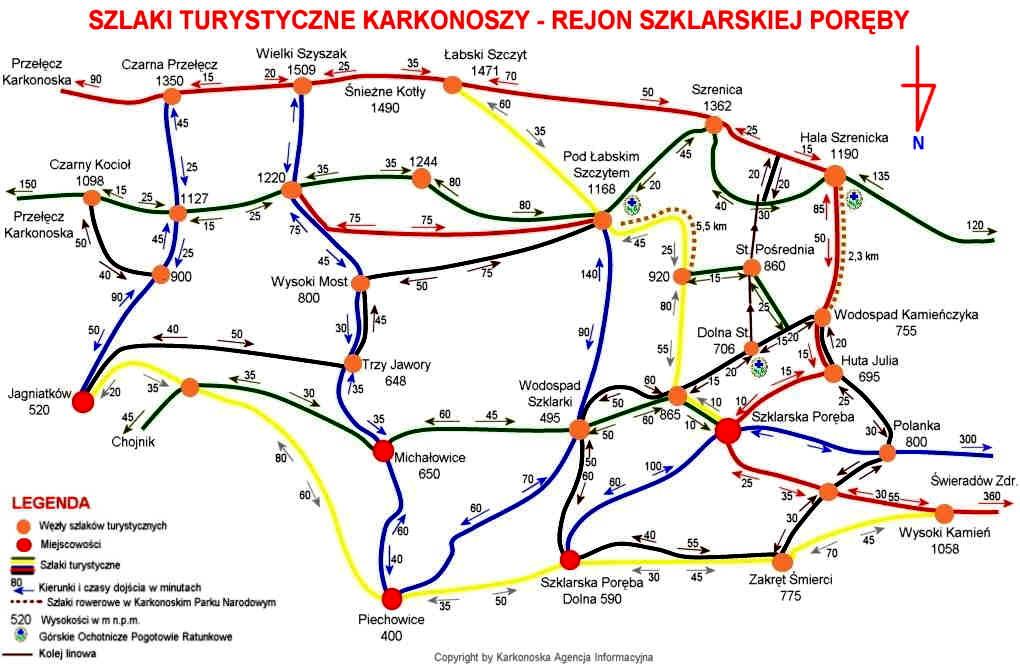 Mapy Karkonoszy Schematy Szlakow Z Podanymi Czasami Przejscia